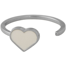 Design Letters Enamel Heart Ring Silver